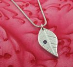 Leaf Pendant with Purple CZ